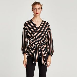 Zara Striped Blouse with Belt